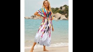 Женская летняя туника из хлопка muticoolored, повседневное пляжное платье кафтан с высокой талией, рукавом три четверти и