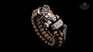 Браслет плетеный из паракорда USA авторская застежка из бронзы Premium Gold Bull или Золотой Бык.