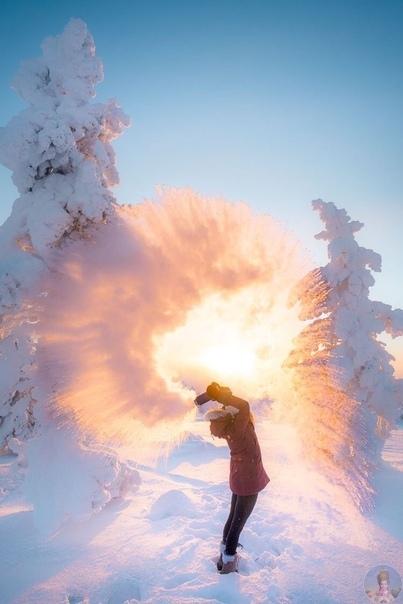 Вот что получится, если запустить горячую воду на морозе