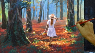 Acrylic Landscape Painting in Time-lapse / Lady with White Dress in Forest / JMLisondra