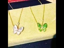 Butterfly van cleef necklace round tsavorite garnets and marquise cut diamonds replica