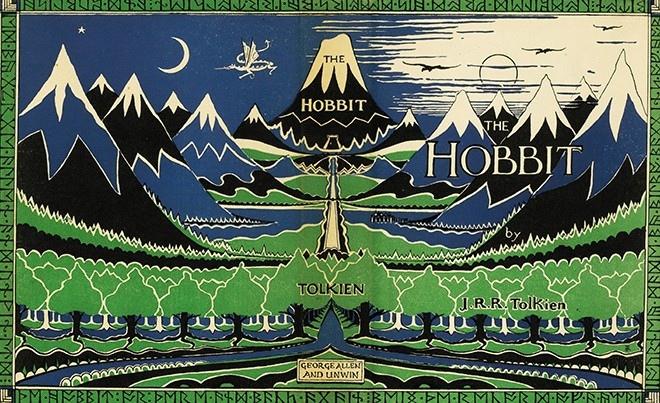 Суперобложка первого издания «Хоббита». Иллюстрация Джона Рональда Руэла Толкина. 1937 год