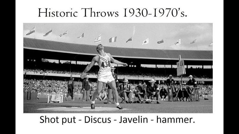 Historic Throws 1930-1970's. Shot put, Discus, Javelin hammer.