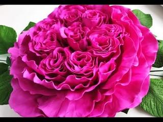 Пионовидная роза из  фоамирана D-50см бесплатный мастер класс от Alla Shvorak