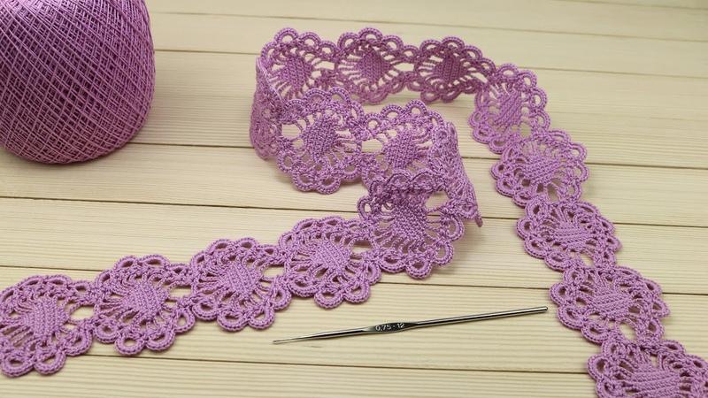 Ажурное ЛЕНТОЧНОЕ КРУЖЕВО вязание крючком мастер класс Crochet Tape Lace Tutorial
