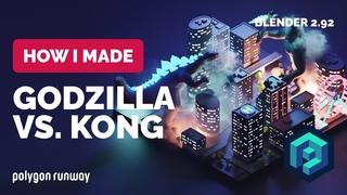 Godzilla vs. Kong in Blender  - 3D Modeling Process | Polygon Runway