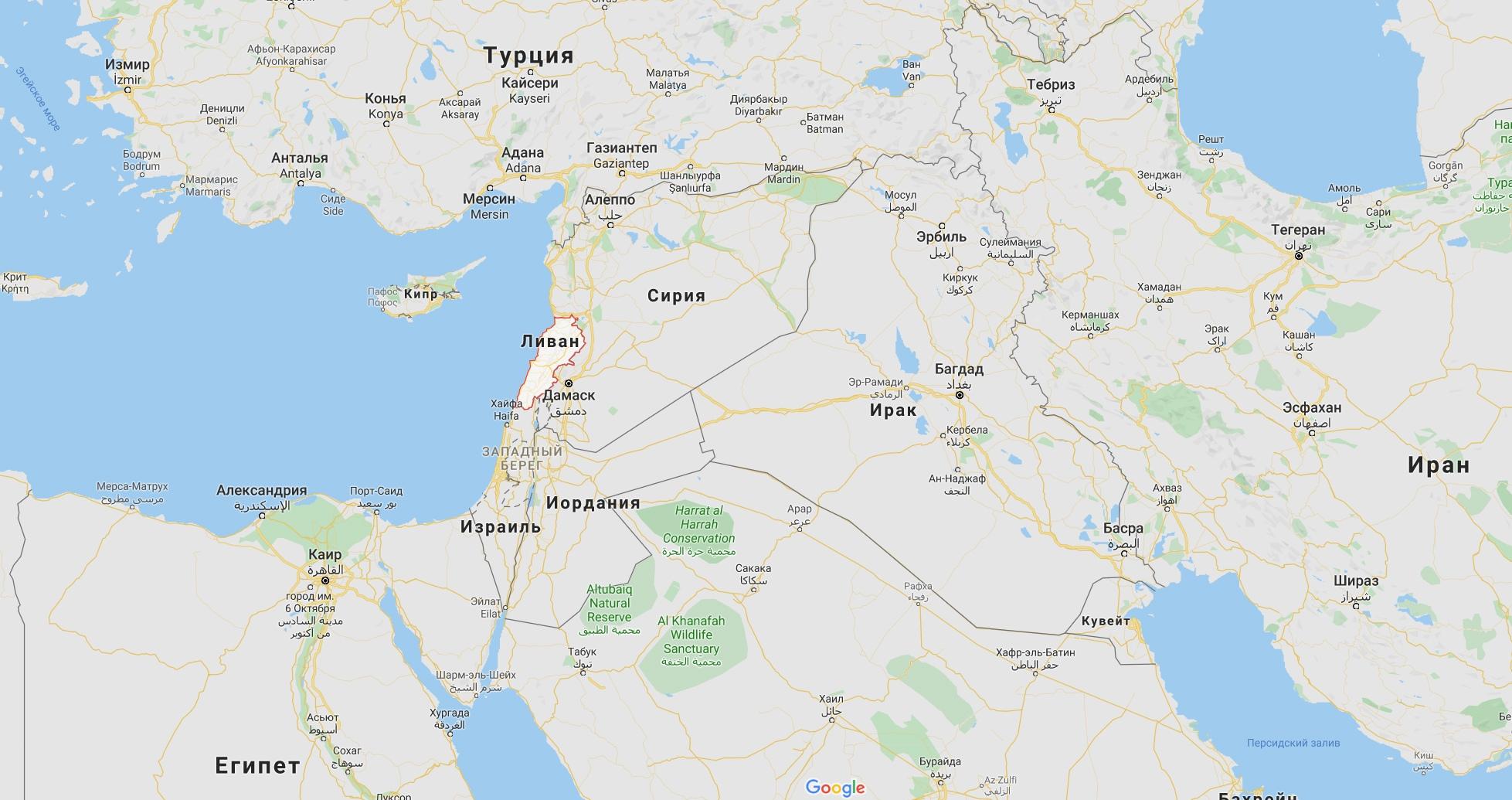 Ливан на карте
