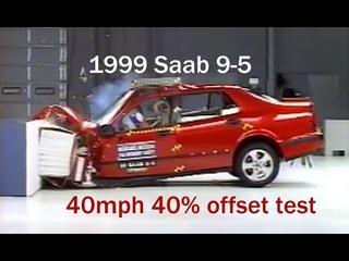 1999 Saab 9-5 moderate overlap IIHS crash test (extended footage)