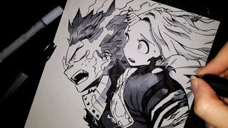 real time drawing Midoriya Izuku and Eri My Hero Academia | Boku no Hero Academia