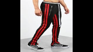 Новинка 2019, спортивные брюки с двумя полосками, мужские брюки на молнии, брюки для пробежек, тонкие