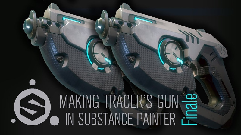 Texturing Tracer's Gun from Overwatch in Substance Painter Finale