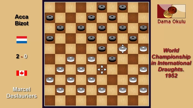 Marcel Deslauriers (CAN) - Acca Bizot (NLD). Draughts World Championship. 1952.