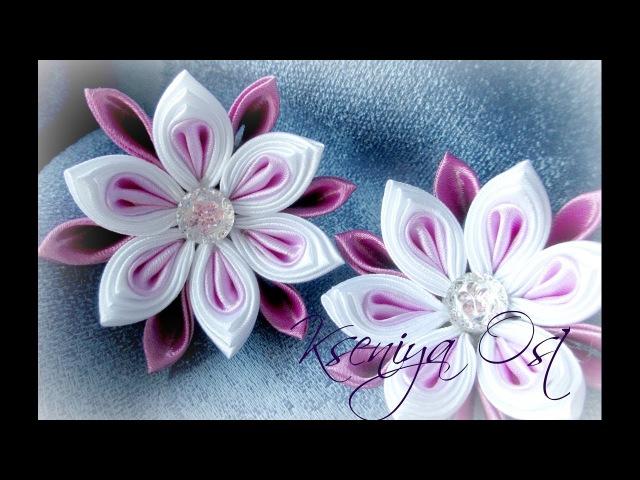 Цветы канзаши из базовых лепестков, многослойка круглый в остром. СИРЕНЕВОЕ НАСТРОЕНИЕ