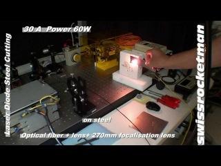 Мощный лазер 60W (Вт) режет сталь!!!