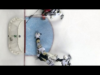 Fleury stretches out to rob Hudler with the glove