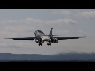 Rockwell B-1 Lancer American supersonic strategic bomber Takeoff With Afterburners Glowing