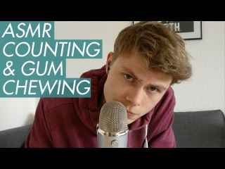 ASMR - Gum Chewing & Counting - Male Whispering & Mouth Sounds