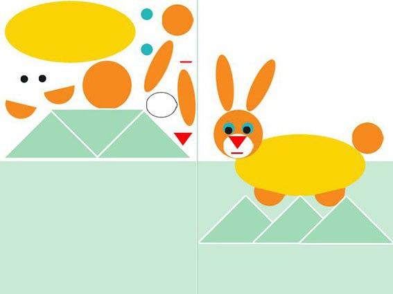 ГЕОМЕТРИЧЕСКАЯ МОЗАИКА Геометрическая мозаика это развивающая игра, которая познакомит малыша с различными геометрическими фигурами и научит составлять из них композиции.распечатайте лист, на