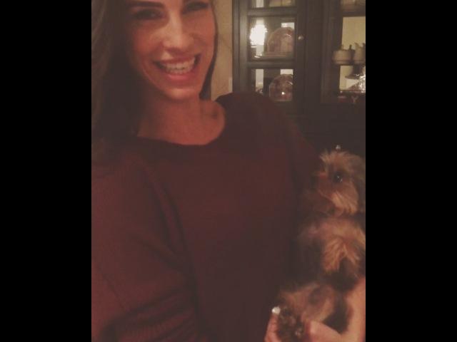 "Jessica Lowndes on Instagram Fenway's first Christmas 🎄 pawprint ornament sisterlove familyiseverything"""