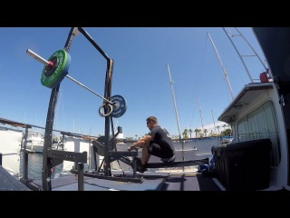 "Dan Bailey on Instagram: ""Some work on the boat yesterday.  Every 3min for 10 rounds  20cal row  6 push jerk 205lbs 6 strict handstand pushup  Song: Southern State…"""