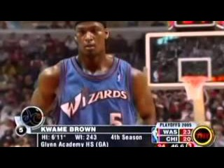 Kwame Brown Playoffs 2005G1+Last Points As The Wizard