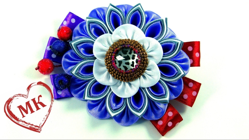 Цветы из атласной ленты своими руками Канзаши ободок мастер класс