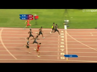 Justin Gatlin Pushed By Mike Rodgers Men's 100m World Challenge Beijing 2016