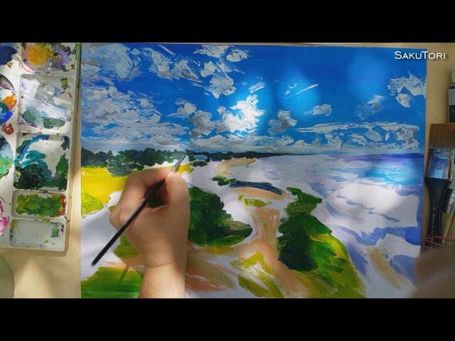 Speed Painting by SakuTori Baltic Sea Landscape (Baltiyskaya Kosa)