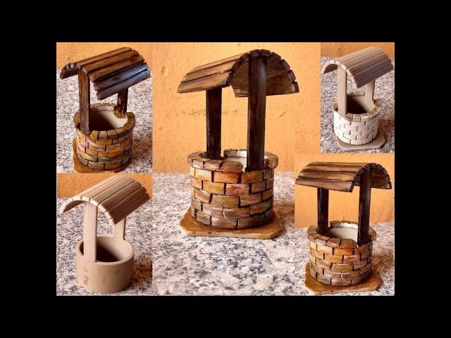DIY Decoração Tubo PVC Mini Poço para Mini Jardim