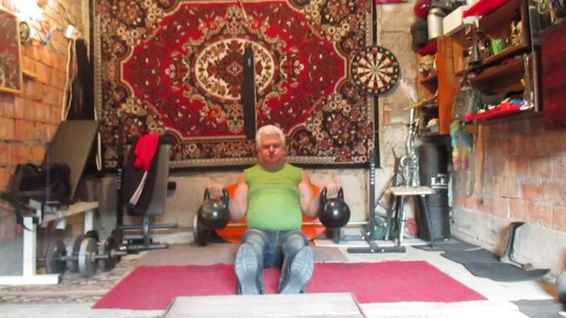 Поъем на бицепс жим гирь по 24 кг сидя на полу на 9 - пробный вариант для зарубы .