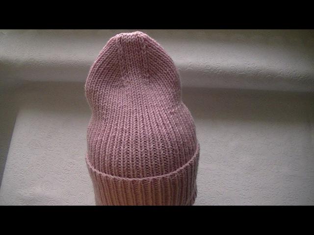 Вязаная шапка резинкой 1*1 и с красивой макушкой Шапка Тыковка