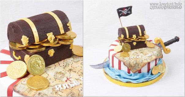 """Торт на пиратскую вечеринку """"Сундук с сокровищами"""" cake"""