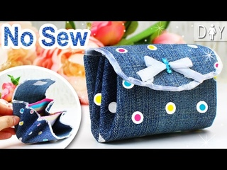 DIY Wallet for GIRLS   Jeans PURSE NO SEW Tutorial From scratch
