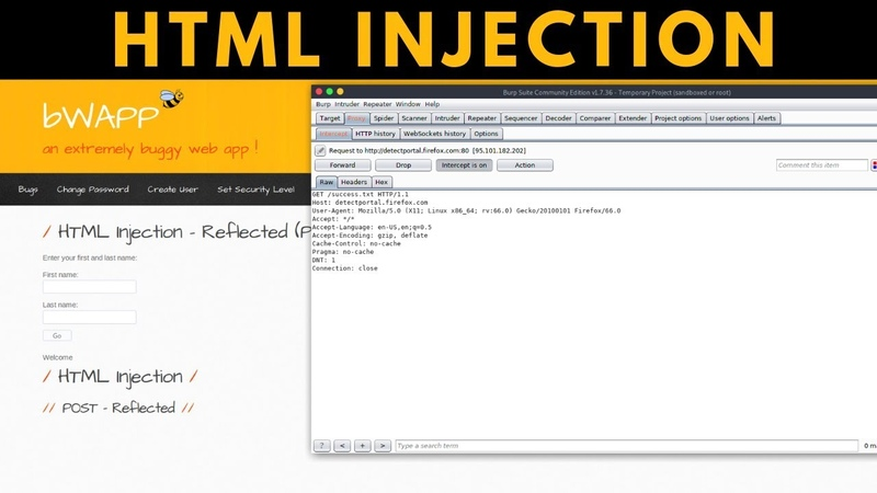 BWAPP - HTML Injection - Reflected POST