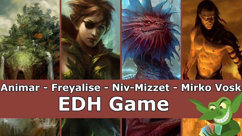 Animar vs Freyalise vs Niv-Mizzet vs Mirko Vosk EDH CMDR game play for Magic The Gathering
