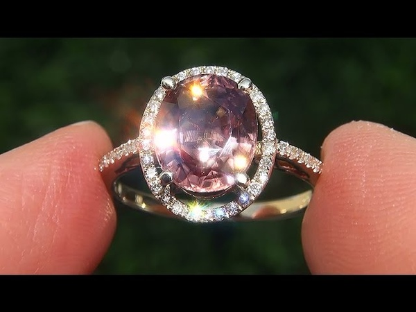 Estate Natural VVS1 Padparadscha Color Zircon Diamond 14k Yellow Gold Ring - A141693