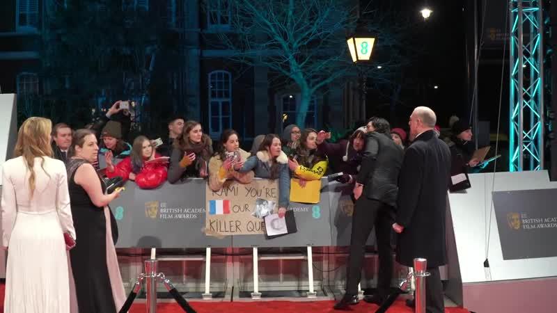 Adam Driver and Joanne Tucker at BAFTAs Arrival, red carpet, photocall for BlacKkKlansman