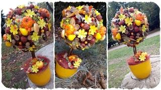 Осенний топиарий из каштанов и желудей: мастер-класс #7. Осенние поделки своими руками