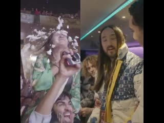 British crowds are so loud! - - Hear superstar DJs @SteveAoki and @CheatCodesMusic chat touring, fitness, and cakes with our No.