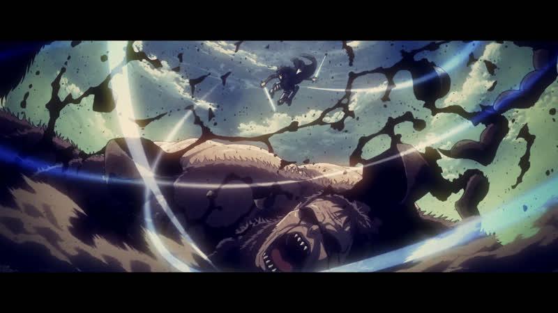 огромный волосатый титан против летающего поцыка с мечами