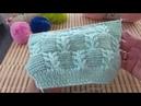 Узор Гиацинт в сочетании с платочной вязкой Вязание спицами