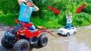BMW Stuck in the mud! Danila ride on POWER WHEEL Towing on QUAD BIKE Funny cars video for kids