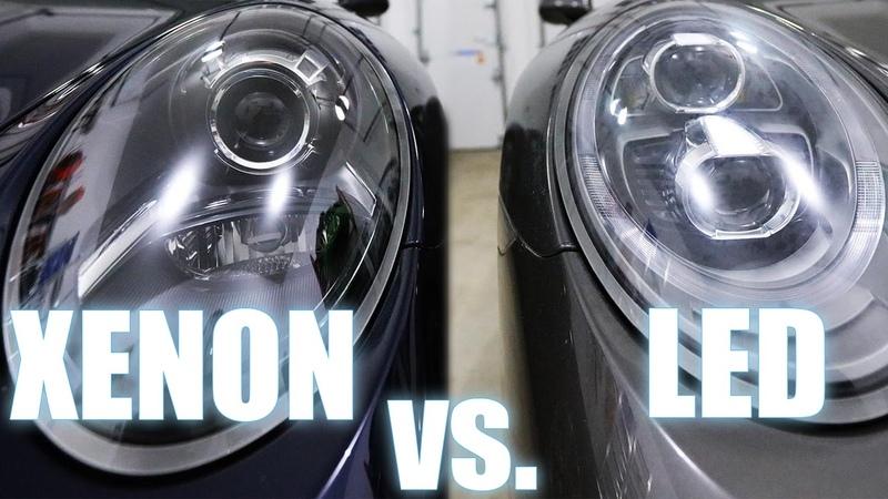 Xenon vs LED Porsche PDLS headlights also Halogen