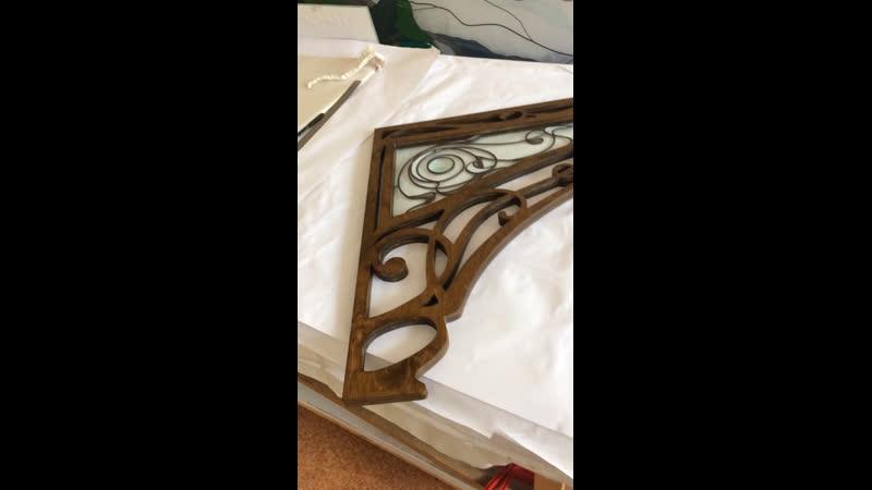 📌Деревянная арка с витражом для дверного проема