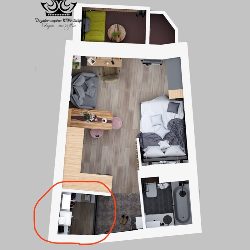Проект небольшой квартиры-студии 25 м (  лоджия).
