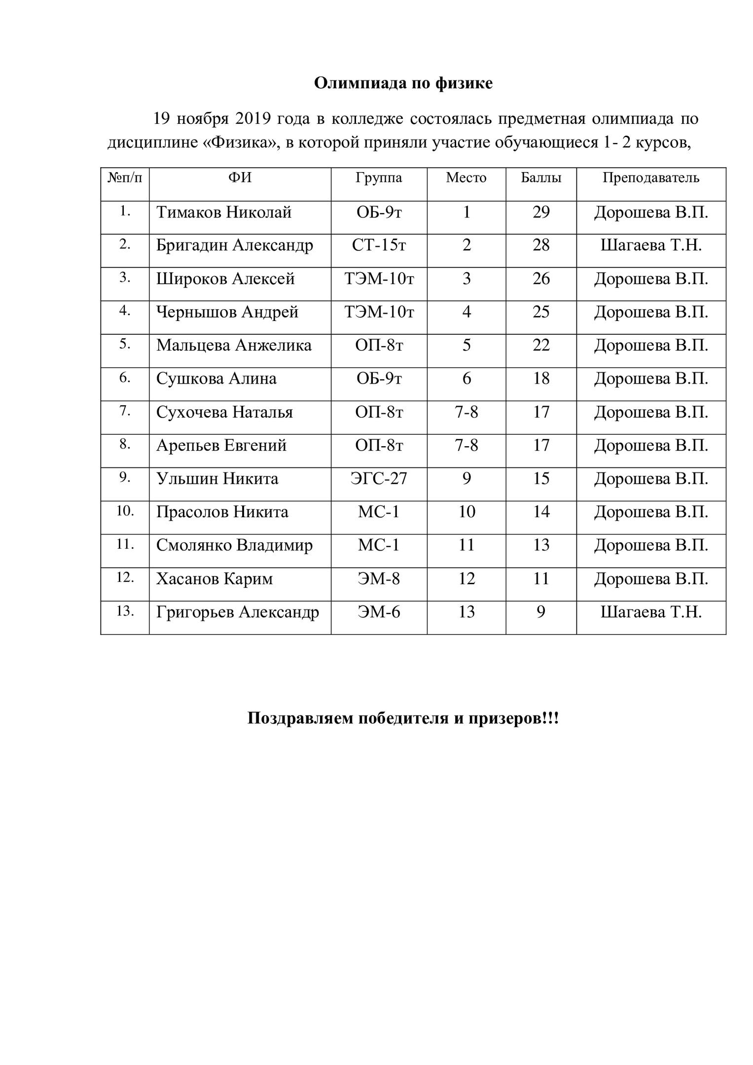 Олимпиада по физике .19.11.2019