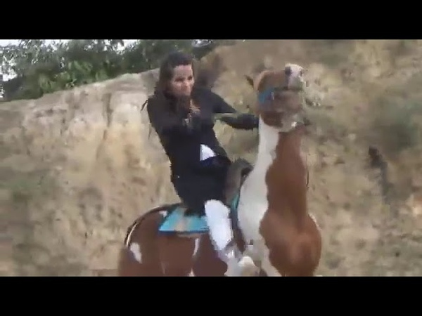 Cruel horse whipping and spurring by a stunning sexy lady