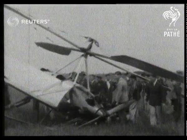 TRANSPORT Gyroplane crash lands (1928)