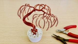 [Bonsai Handmade]How To Make Mini Bonsai Tree Wire Copper 03