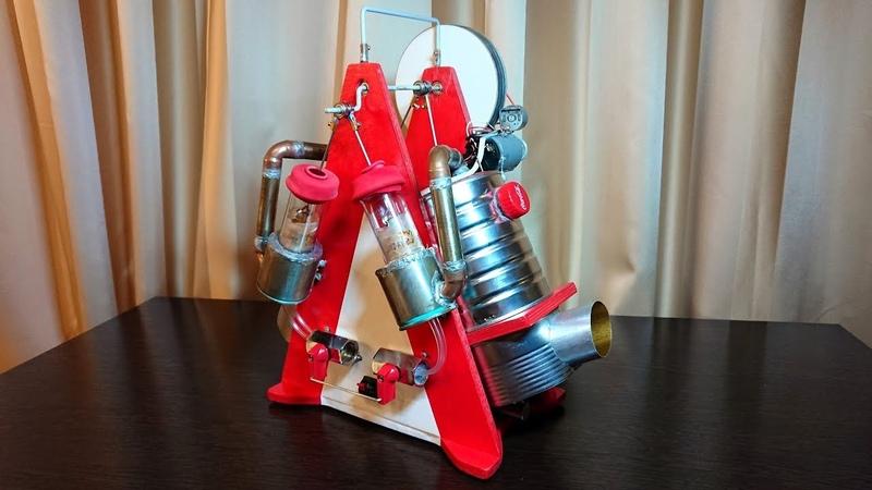 Двухцилиндровый двигатель Стирлинга с генератором V2